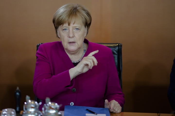 German Chancellor Angela Merkel leads the weekly cabinet meeting of the German government at the chancellery in Berlin, Wednesday, April 18, 2018. (AP Photo/Markus Schreiber)