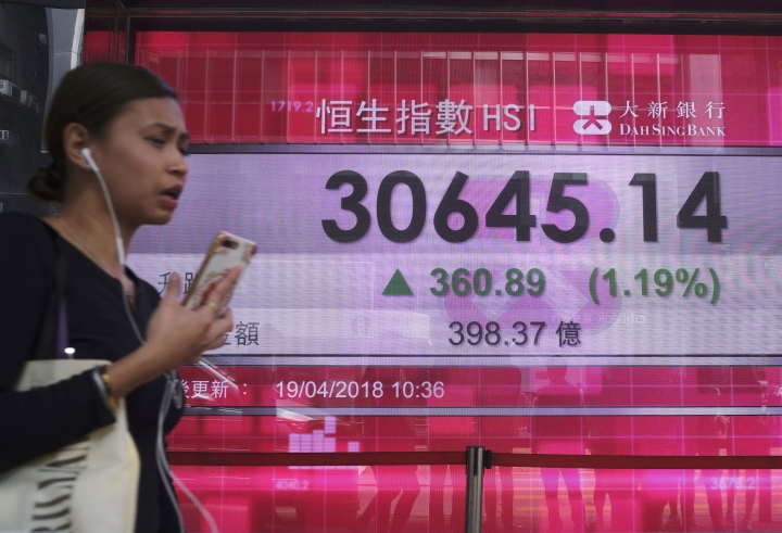 A woman walks past an electronic board showing Hong Kong share index outside a local bank in Hong Kong, Thursday, April 19, 2018. Asian shares rose on Thursday as improving optimism about the global economy helped investors shake off worries about geopolitical risks for the moment. (AP Photo/Vincent Yu)