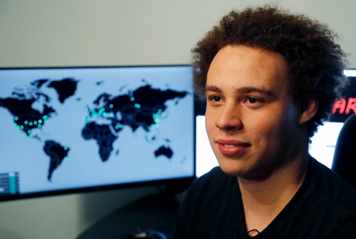 FILE - This Monday, May 15, 2017, file photo shows Marcus Hutchins, a British cybersecurity expert during an interview in Ilfracombe, England. Hutchins once hailed as a hero for stopping the WannaCry computer virus that crippled computers worldwide will be in federal court in Milwaukee, Thursday, April 19, 2018, to try to weaken a criminal case against him by having his post-arrest statements tossed. Prosecutors filed charges against Hutchins last year, alleging he distributed a malicious software called Kronos to steal banking passwords from unsuspecting computer users. Hutchins pleaded not guilty to the charges in August. (AP Photo/Frank Augstein, File)