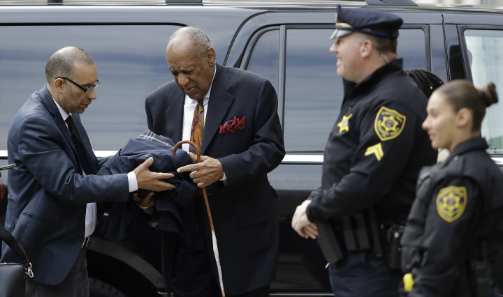 Bill Cosby arrives for his sexual assault trial, Thursday, April 19, 2018, at the Montgomery County Courthouse in Norristown. (AP Photo/Matt Slocum)