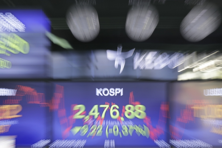 A screen shows the Korea Composite Stock Price Index (KOSPI) at the foreign exchange dealing room in Seoul, South Korea, Friday, April 20, 2018. Asian stock markets drifted mostly lower on Friday snapping two straight days of gains as Apple suppliers in the region weighed on the broader market. (AP Photo/Lee Jin-man)