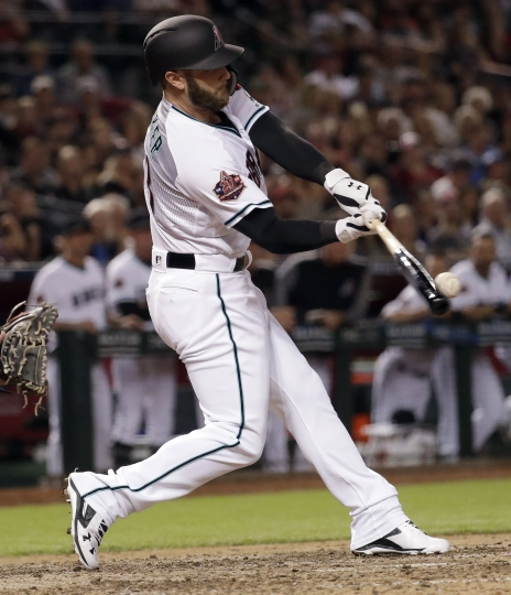 Arizona Diamondbacks Christian Walker breaks up San Diego Padres starting pitcher Tyson Ross' no-hitter with an RBI double during the eighth inning of a baseball game Friday, April 20, 2018, in Phoenix. (AP Photo/Matt York)