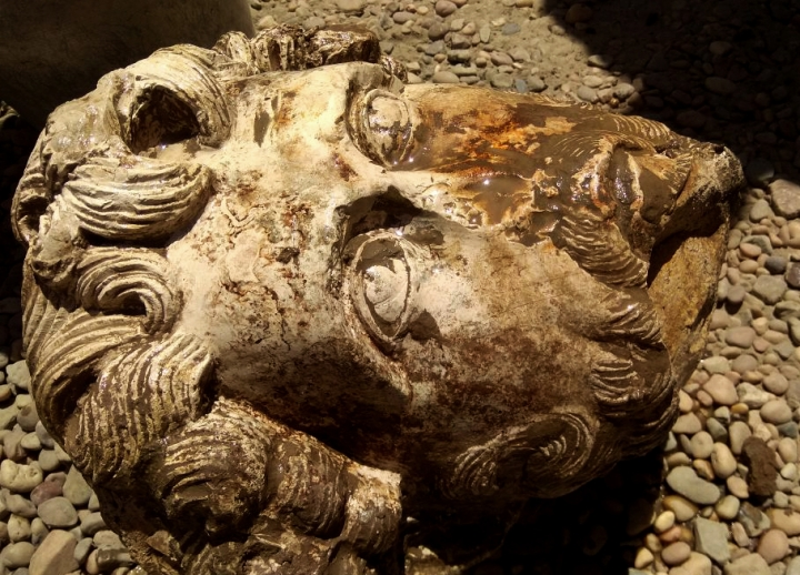 This undated photo released by the Egyptian Ministry of Antiquities, shows the head of Roman Emperor Marcus Aurelius that was found in the Temple of Kom Ombo, in Aswan, 585 miles (940 kilometers) south of Cairo, Egypt. (Egyptian Ministry of Antiquities via AP)