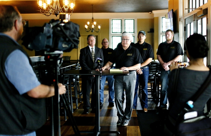 CORRECTS SOURCE TO YORK DISPATCH INSTEAD OF THE YORK DAILY RECORD - In this Wednesday, March 1, 2017 photo, former York County Commissioner and Brewvino Owner Steve Chronister talks about Brewvino, LLC., taking over ownership of Grandview Golf Club during a press conference at the golf club in York, Pa. The golf club is apologizing for calling police on a group of black women after Chronister and his son, club co-owner Jordan Chronister, said they were playing too slowly. The women were playing at the club on Saturday, April 21 . (Dawn J. Sagert /York Dispatch via AP)