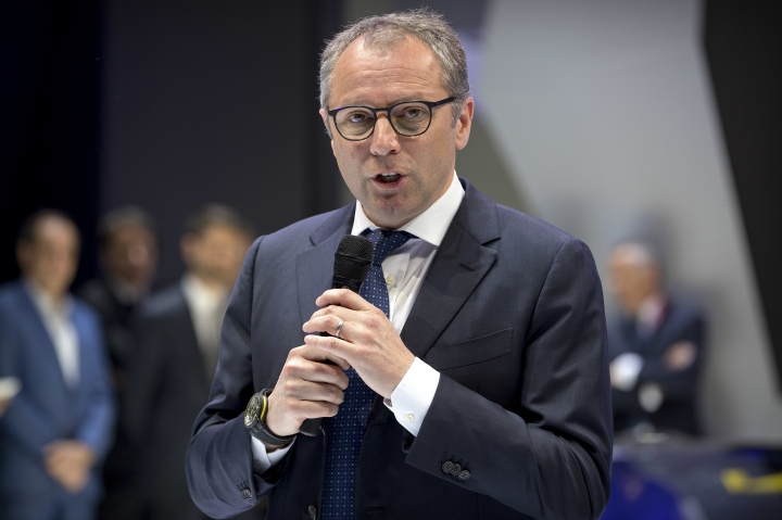 Stefano Domenicali, CEO of Lamborghini, speaks during a press conference at the China Auto Show in Beijing, Wednesday, April 25, 2018. Auto China 2018, the industry's biggest sales event this year, is overshadowed by mounting trade tensions between Beijing and U.S. President Donald Trump, who has threatened to hike tariffs on Chinese goods including automobiles in a dispute over technology policy. (AP Photo/Mark Schiefelbein)