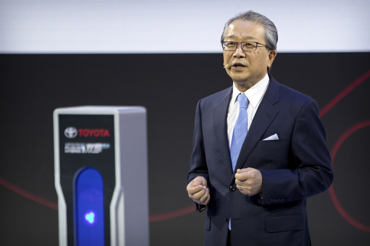 Kazuhiro Kobayashi, CEO of the China Region for Toyota, speaks during a press conference at the China Auto Show in Beijing, Wednesday, April 25, 2018. Auto China 2018, the industry's biggest sales event this year, is overshadowed by mounting trade tensions between Beijing and U.S. President Donald Trump, who has threatened to hike tariffs on Chinese goods including automobiles in a dispute over technology policy. (AP Photo/Mark Schiefelbein)