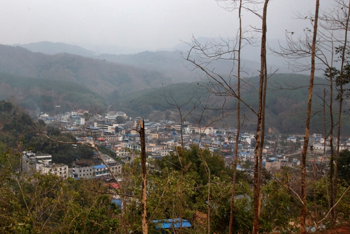 This March 16, 2018 photo, shows Laiza, a small town along the Chinese border and the headquarter of the Kachin Independence Army in northern Myanmar. While the world is focused on attacks on Myanmar's Rohingya Muslims, a civil war rages, pitting government forces against another of the country's minorities, the Kachins, mostly Christian. It's one of the longest-running wars on Earth, and it has intensified dramatically in recent months, with at least 10,000 people been displaced since January alone, according to the United Nations. (AP Photo/Esther Htusan)