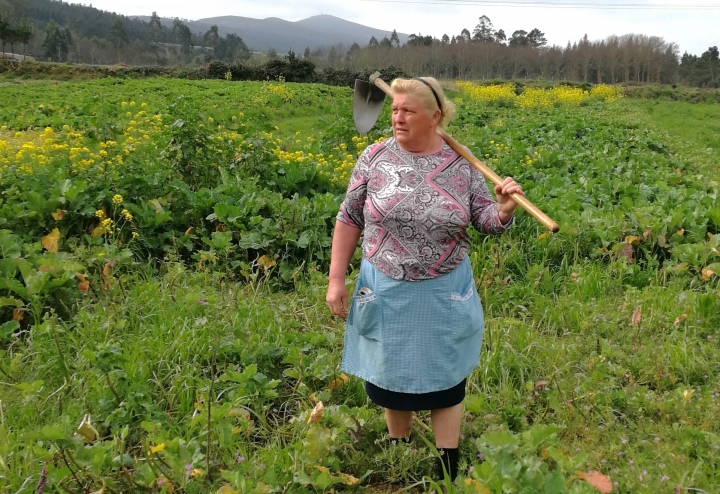 Dolores Leis stands in a field on her farm in Galicia, in northern Spain, Thursday April 19, 2018. Leis, has found unexpected fame on social media after many found she bore a striking resemblance to U.S. President Donald Trump. Thousands of responses flooded in last week after a journalist reporting on farming in northwestern Spain posted on Instagram a picture of Dolores Leis dressed in farm clothing with a hoe over her shoulder. (Paula Vazquez via AP)