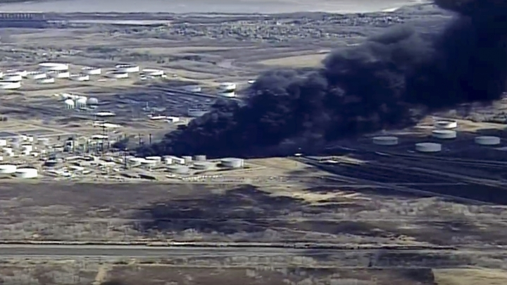 This aerial image from video provided by KSTP-TV in Minneapolis, shows smoke rising from the Husky Energy oil refinery after an explosion and fire Thursday, April 26, 2018, at the plant in Superior, Wis. Authorities say several people were injured in the explosion. (KSTP-TV via AP)