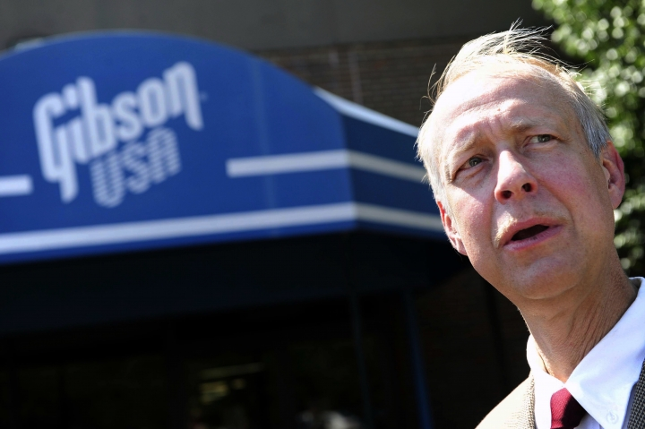FILE - In this Aug. 25, 2011 file photo, Gibson Guitar CEO Henry Juszkiewicz speaks at the plant in Nashville, Tenn. The maker of the Gibson guitar, an omnipresent icon in American rock 'n' roll, is filing for bankruptcy protection after wrestling for years with burdensome debt. (Samuel M. Simpkins/The Tennessean via AP, File)