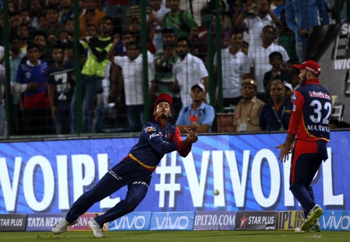 Delhi Daredevils' captain Shreyas Iyer drops a catch during VIVO IPL cricket T20 match in New Delhi, India, Wednesday, May 2, 2018. (AP Photo/Altaf Qadri)