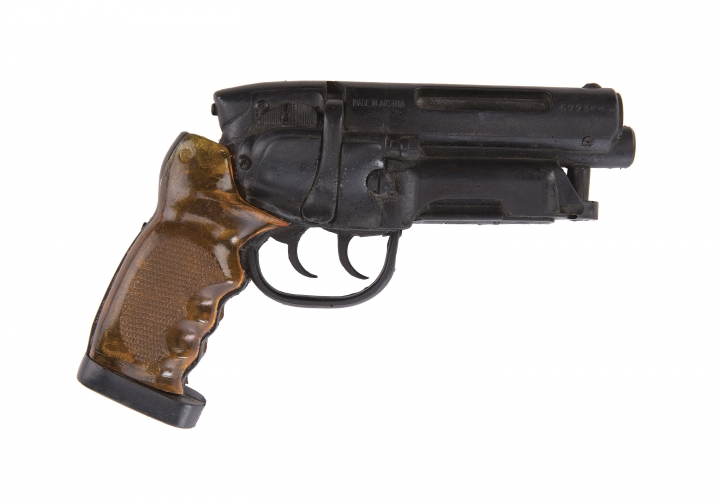 "This image released by Profiles in History shows a prop blaster used by Harrison Ford in the 1982 film, ""Blade Runner,"" which is among the items from Hollywood films up for auction in June. (Profiles in History via AP)"