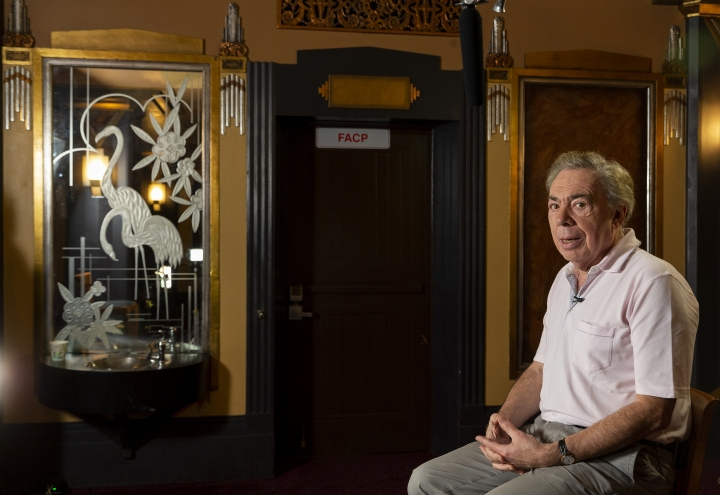 "Andrew Lloyd Webber poses for a photo during an interview at Hollywood Pantages Theatre in Los Angeles Thursday, May. 3, 2018. The Oscar and Tony winning composer was in town for the Los Angeles premiere of his hit musical, ""School of Rock The Musical."" (AP Photo/Damian Dovarganes)"