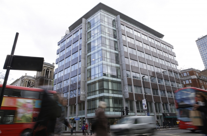 FILE - In this file photo dated Friday, March 23, 2018, a general view of the building in central London that contains offices of social analysis company Cambridge Analytica. Cambridge Analytica (CA) announced Wednesday May 2, 2018, that it planned to file for bankruptcy in Britain and the U.S., saying negative publicity has driven potential clients away. British authorities have said investigations into CA will continue despite the company is going out of business. (AP Photo/Alastair Grant, FILE)
