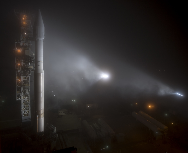 This photo released by NASA shows a United Launch Alliance (ULA) Atlas-V rocket with NASA's InSight spacecraft onboard shortly after the mobile service tower was rolled back, Friday, May 4, 2018, at Vandenberg Air Force Base in Calif. The rocket is set to launch early Saturday. (Bill Ingalls/NASA via AP)