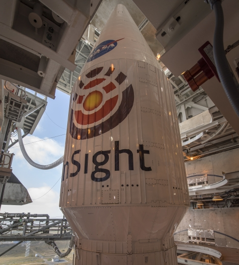 "In this photo privided by NASA, the United Launch Alliance (ULA) Atlas-V rocket is viewed with NASA's InSight spacecraft onboard, Thursday, May 3, 2018, at Vandenberg Air Force Base in California. InSight, short for Interior Exploration using Seismic Investigations, Geodesy and Heat Transport, is a Mars lander designed to study the ""inner space"" of Mars: its crust, mantle, and core (Bill Ingalls/NASA via AP)"