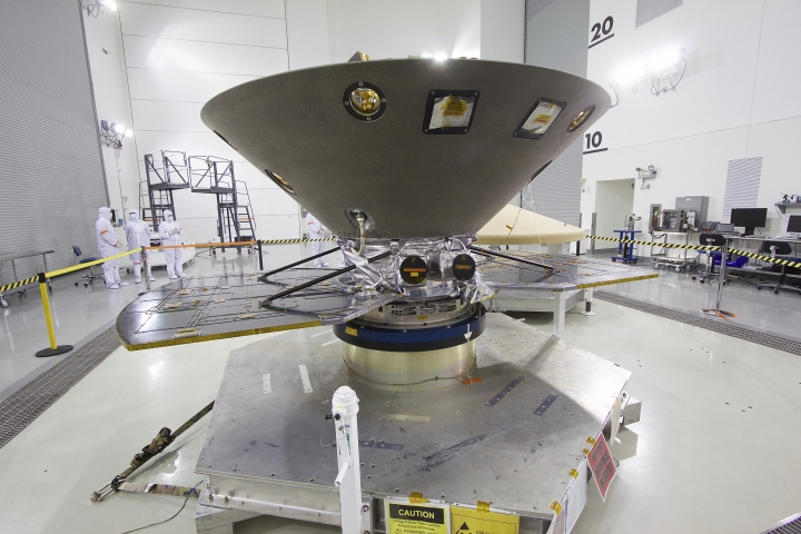 """NASA's Mars bound """"InSight"""" lander undergoes its final check outs and processing before encapsulation and mating to a ULA Atlas V rocket. The 6 month mission to Mars is the first inter-plantary launch from the west coast and the first Mars bound mission from California. NASA's Jet Propulsion Laboratory is leading the mission to Mars to collect, analyze and discover the red plants beginnings and to study its interior. (Matt Hartman for AP)"""