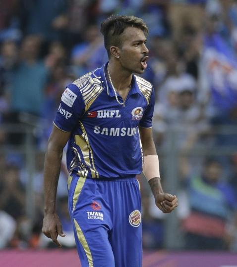 Mumbai Indian's Hardik Pandya reacts during the VIVO IPL cricket T20 match against Kolkata Knight Riders in Mumbai, India, Sunday, May 6, 2018. (AP Photo/Rafiq Maqbool)