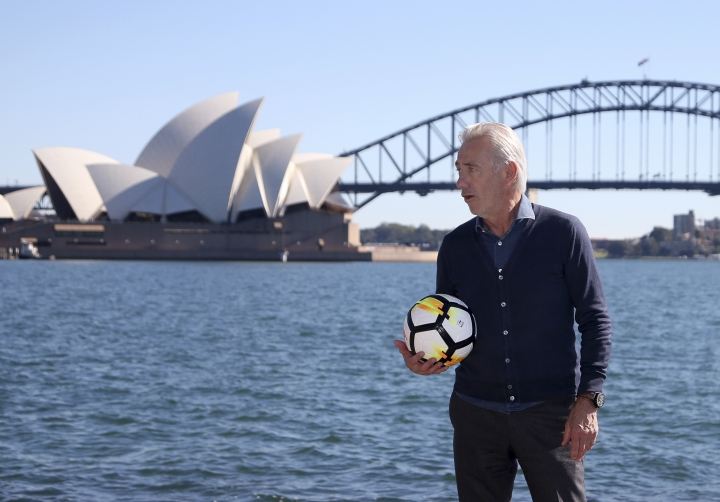 Australia's national soccer team head coach Bert van Marwijk poses for a photo in Sydney, Monday, May 7, 2018. Van Marwijk has named 32 players as part of his preliminary squad for the 2018 World Cup in Russia. (AP Photo/Rick Rycroft)