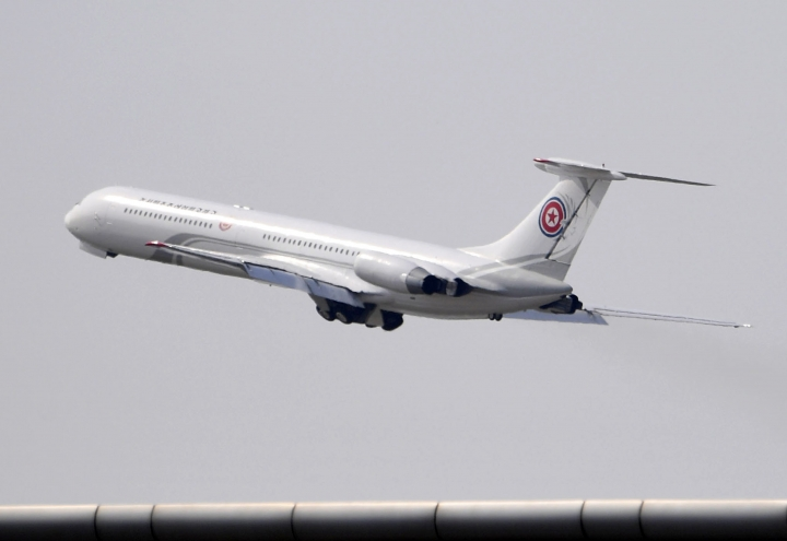 A passenger plane which is reportedly used for North Korean high-ranking officials, takes off from an airport in Dalian, China Tuesday, May 8, 2018. Chinese President Xi Jinping has held talks with North Korean leader Kim Jong Un in the northern China port city, Chinese state media reported Tuesday. (Minoru Iwasaki/Kyodo News via AP)