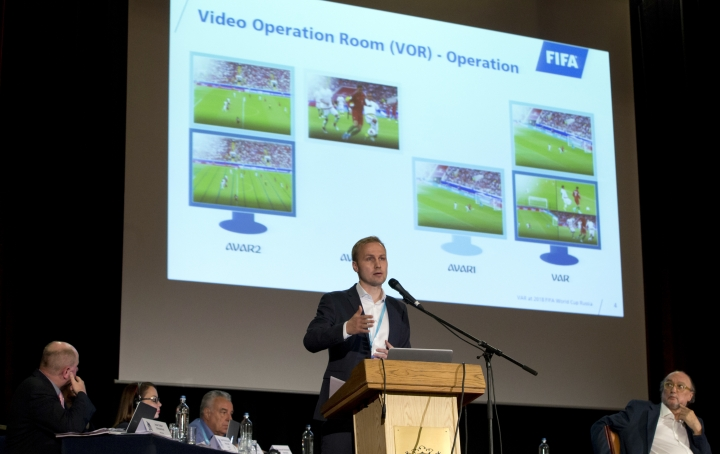 Germany's Johannes Holzmueller, FIFA-Director of Soccer Technology, speaks during a media conference regarding the Video Assistant Referee (VAR) at a hotel in Brussels on Tuesday, May 8, 2018. (AP Photo/Virginia Mayo)