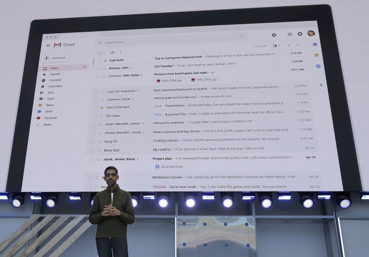 Google CEO Sundar Pichai speaks about gmail features at the Google I/O conference in Mountain View, Calif., Tuesday, May 8, 2018. (AP Photo/Jeff Chiu)