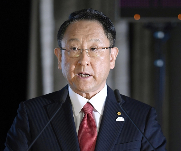 Toyota's President and Chief Executive Akio Toyoda delivers a speech during a news conference on the automaker's quarterly result in Tokyo Wednesday, May 9, 2018. Toyota Motor Corp. reported Wednesday that its quarterly profit rose 21 percent as cost cuts and booming sales in some markets offset the toll from higher U.S. incentives. (Masanobu Kumagai/Kyodo News via AP)/Kyodo News via AP)
