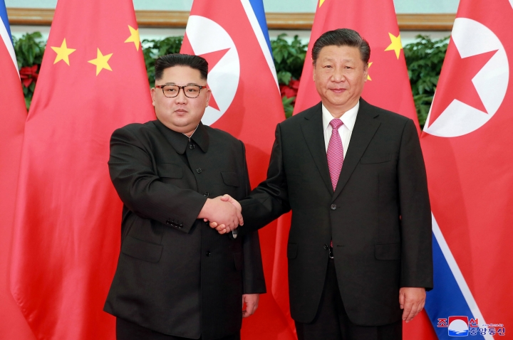 "In this May 7, 2018, photo provided by the North Korean government, North Korean leader Kim Jong Un, left, meets Chinese President Xi Jinping in Dalian, China. Independent journalists were not given access to cover the event depicted in this image distributed by the North Korean government. The content of this image is as provided and cannot be independently verified. Korean language watermark on image as provided by source reads: ""KCNA"" which is the abbreviation for Korean Central News Agency. (Korean Central News Agency/Korea News Service via AP)"