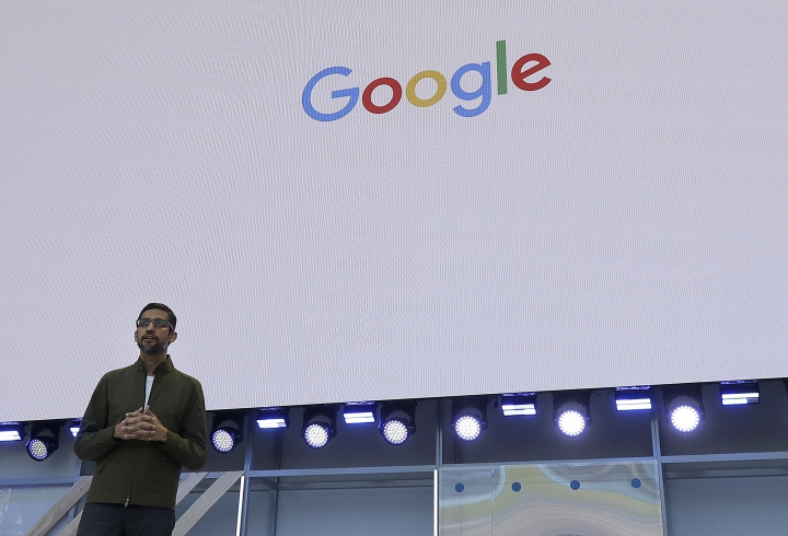 Google CEO Sundar Pichai speaks at the Google I/O conference in Mountain View, Calif., Tuesday, May 8, 2018. (AP Photo/Jeff Chiu)