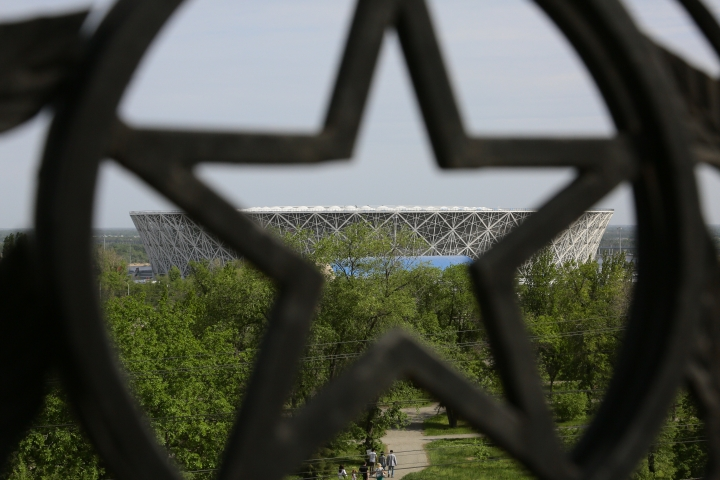 A view from the Mamayev Kurgan memorial complex, showing one of the new World Cup stadium, in Volgograd, Russia, Wednesday, May 9, 2018. The stadium will hold group-stage games at the World Cup. (AP Photo/Dmitriy Rogulin)