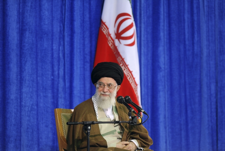 """In this picture released by an official website of the office of the Iranian supreme leader, Supreme Leader Ayatollah Ali Khamenei attends a meeting with a group of school teachers in Tehran, Iran, Wednesday, May 9, 2018. Khamenei has challenged President Donald Trump over America pulling out of the nuclear deal, saying, """"You can not do a damn thing!"""" a day after Trump announced he was renewing sanctions on Iran. (Office of the Iranian Supreme Leader via AP)"""