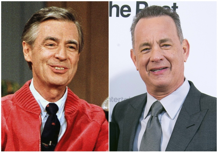 """This combination photo shows Fred Rogers as he rehearses the opening of his PBS show """"Mister Rogers' Neighborhood"""" in Pittsburgh on June 28, 1989, left, and Tom Hanks at the London premiere of the film 'The Post ' on Jan. 10, 2018. Sony Pictures says the Rogers drama """"You Are My Friend"""" starring Hanks as the beloved children's show host is coming to theaters on Oct. 18, 2019. (AP Photo)"""