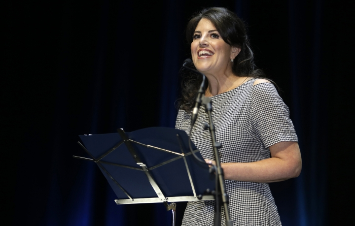 "FILE - In this June 25, 2015, file photo, Monica Lewinsky attends the Cannes Lions 2015, International Advertising Festival in Cannes, southern France. A magazine apologized to Lewinsky after she said she was disinvited to an event because former President Bill Clinton was attending. Town & Country on Thursday, May 10, 2018, tweeted it regretted ""the way the situation was handled."" The magazine held its annual Philanthropy Summit in New York City on Wednesday. (AP Photo/Lionel Cironneau, File)"