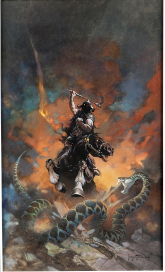 This undated photo provided by Heritage Auctions, HA.com, shows a Death Dealer 6 Painting by famed science fiction and fantasy artist Frank Frazetta. The auction house was expecting it would go for $600,000 but on Thursday, May 10, 2018, in Chicago, it ended up going for more than anyone has ever paid for a Frazetta: $1,792,500. (Heritage Auctions, HA.com via AP)
