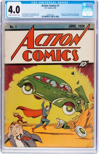This undated photo provided by Heritage Auctions, HA.com, shows a vintage 1938 Action Comics #1 in which Superman made his debut. The comic sold at auction in Chicago on Thursday, May 10, 2018, for $573,600. (Emily Clements/Heritage Auctions, HA.com via AP)