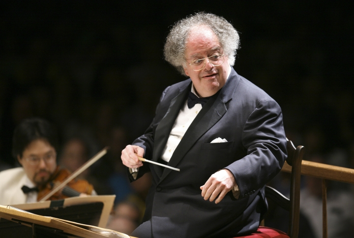 FILE - In this July 7, 2006 file photo, Boston Symphony Orchestra music director James Levine conducts the symphony on its opening night performance at Tanglewood in Lenox, Mass. Performances by the former Metropolitan Opera music director have been withdrawn from the company's Sirius XM satellite and online radio channel, a large percentage of the company's history. Levine, the company's leading force as music or artistic director from 1976-2016, was fired as music director emeritus on March 12 after an investigation found evidence of sexual abuse and harassment. (AP Photo/Michael Dwyer, File)