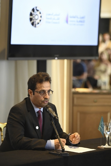 Ahmad Al-Mezyed, chief executive of the General Culture Authority, speaks during a press conference for the Saudi Arabia Film Council at the 71st international film festival, Cannes, southern France, Friday, May 11, 2018. Saudi Arabia recently lifted a 35-year ban on cinemas and has erected its first pavilion at this year's Cannes film festival. (Photo by Arthur Mola/Invision/AP)
