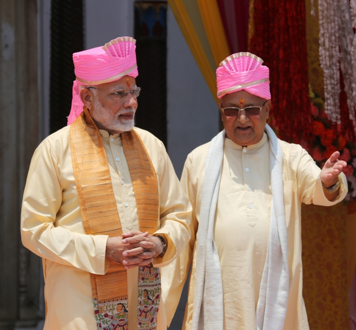 Nepalese Prime Minister Khadga Prasad Oli, right, and Indian Prime Minister Narendra Modi visit the Janaki Temple, a revered Hindu temple in Janakpur, Nepal, Friday, May 11, 2018. Modi began a two-day visit to Nepal Friday as the two South Asian nations work to improve relations that were strained over Indian-backed ethnic protests in Nepal in 2015. (AP Photo/Prabhat R. Jha)