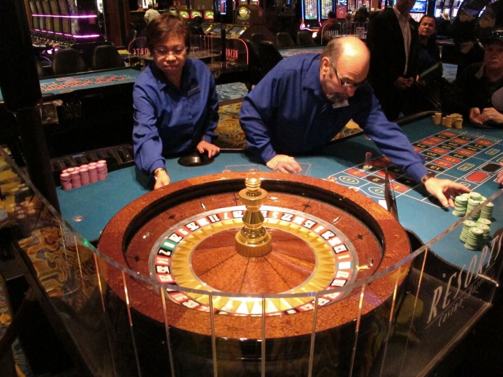This April 20, 2018 photo shows a game of roulette underway at Resorts Casino Hotel in Atlantic City, N.J. As Atlantic City's casinos mark their 40th anniversary, the industry is hailing the reopening of two of the five casinos that shut down since 2014, though some worry that re-expanding the market could lead to the same conditions that caused the wave of closings in the first place. (AP Photo/Wayne Parry)