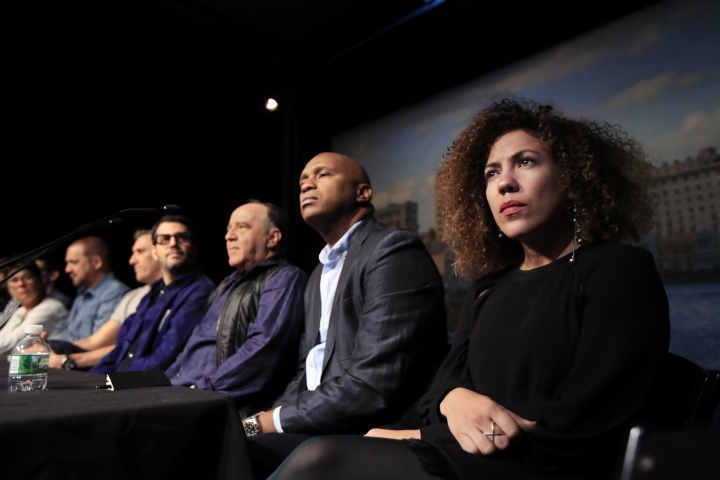 Cuban designer Celia Ledón from right, and Havana-born artist Roberto Diago, join other Cuban artists during a news conference at the Kennedy Center in Washington, Tuesday, May 8, 2018. Renewed tensions between the U.S. and Cuba did not stop the John F. Kennedy Center for the Performing Arts from shining a spotlight on the island's rich cultural heritage during what's being billed as the largest Cuban arts festival ever held in the United States. (AP Photo/Manuel Balce Ceneta)