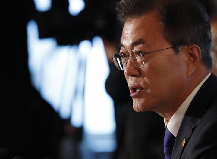 FILE - In this May 9, 2018, file photo, South Korean President Moon Jae-in attends their trilateral summit with Japanese Prime Minister Shinzo Abe and Chinese Premier Li Keqiang at Akasaka Palace state guesthouse in Tokyo. Moon has stepped into the spotlight as he drives a new global push to settle the nuclear standoff with Pyongyang. (Kim Kyung-Hoon/Pool Photo via AP, File)