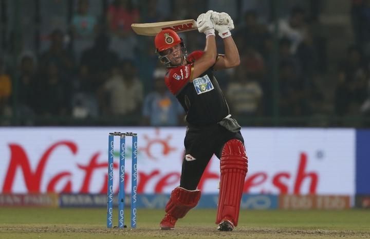 Royal Challengers Bangalore player AB de Villiers plays a shot during the VIVO IPL cricket T20 match against Delhi Daredevils in New Delhi, India, Saturday, May 12, 2018. (AP Photo/Altaf Qadri)