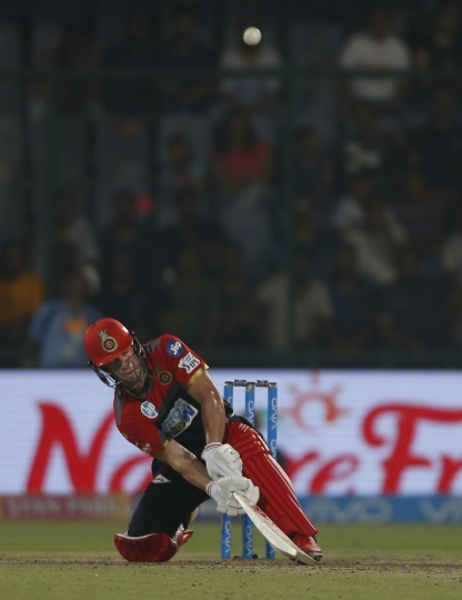 Royal Challengers Bangalore player AB de Villiers plays a shot during the VIVO IPL cricket T20 match against Delhi Daredevils in New Delhi, India, Saturday, May 12, 2018. (AP Photo/Altaf Qadri)