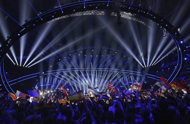 Competitors and the flags of the competing countries enter the arena in Lisbon, Portugal, Saturday, May 12, 2018 before the Eurovision Song Contest grand final. (AP Photo/Armando Franca)