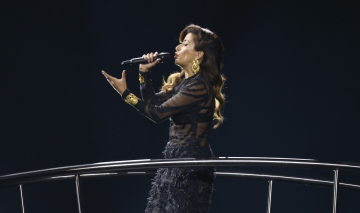 Ana Moura performs the song 'Loucura' in Lisbon, Portugal, Saturday, May 12, 2018 during the Eurovision Song Contest grand final. (AP Photo/Armando Franca)