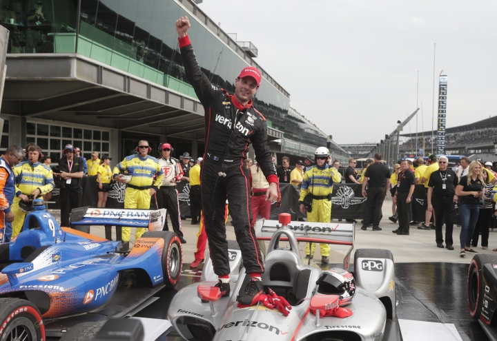 Will Power, of Australia, celebrates after winning the IndyCar Grand Prix auto race at Indianapolis Motor Speedway in Indianapolis, Saturday, May 12, 2018. (AP Photo/Michael Conroy)