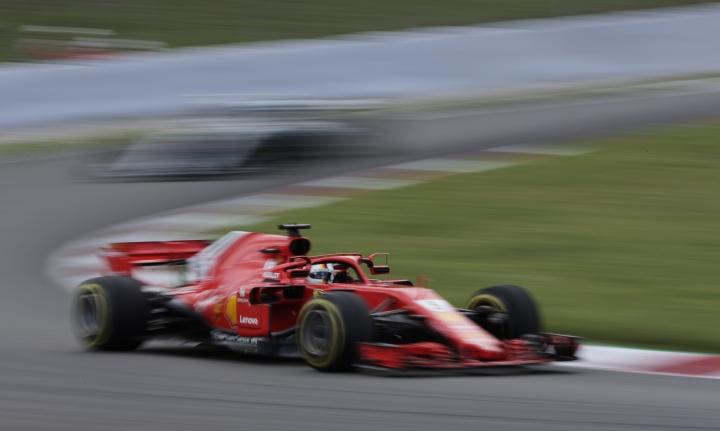 Ferrari driver Sebastian Vettel of Germany steers his car during the Spanish Formula One Grand Prix at the Barcelona Catalunya racetrack in Montmelo, Spain, Sunday, May 13, 2018. (AP Photo/Emilio Morenatti)