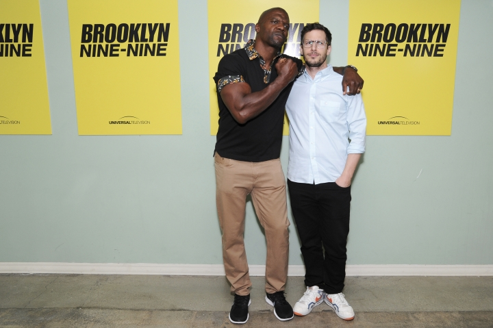 "FILE - In this June 22, 2016, file photo, Terry Crews, left, and Andy Samberg attend ""Brooklyn Nine-Nine"" FYC Event held at Upright Citizens Brigade Theatre in Los Angeles. NBC is turbo-charging the trend of reviving canceled comedies with its pickup of ""Brooklyn Nine-Nine."" The network quickly swooped in after Fox dumped it, adding it to NBC's midseason schedule. (Photo by Richard Shotwell/Invision/AP, File)"
