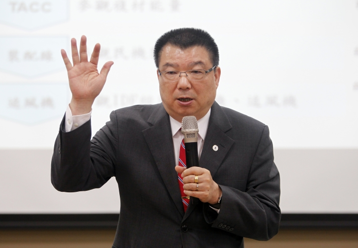 In this April 25, 2018 photo, Jung-Hsin (Anson) Liao, the chairman of Aerospace Industrial Development Corp. (AIDC), speaks during a media event in Taichung, Taiwan. Taiwan is seeking to build-up its domestic defense industry in the face of China's threats and the reluctance of foreign arms suppliers to provide it with planes, ships, submarines and other hardware to defend its 23 million people. AIDC is a leader in the defense industry serving the isolated self-governing island that China claims as its own territory and threatens to take back by force. (AP Photo/Chiang Ying-ying)