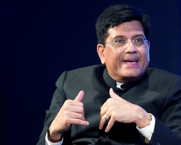 Piyush Goyal, Minister of Railways and Coal of India, gestures as he speaks during the World Economic Forum (WEF) annual meeting in Davos, Switzerland, January 23, 2018. REUTERS/Denis Balibouse